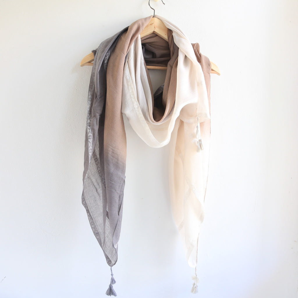 Rania Ombre Shawl with Tassels - Bulan Design  - 1