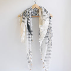 Bohemian Square Lace Scarf with Tassels - Bulan Design  - 18