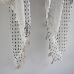 Bohemian Square Lace Scarf with Tassels - Bulan Design  - 13