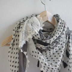 Bohemian Square Lace Scarf with Tassels - Bulan Design  - 8