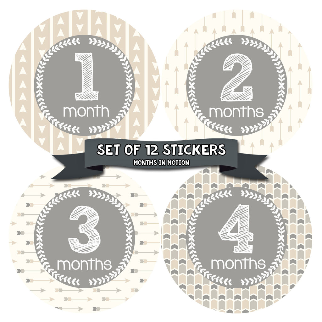Baby Monthly Stickers | Gender Neutral Month Stickers for Baby | Style 1059 - Monthly Baby Sticker