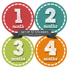 Months in Motion 078 Monthly Baby Stickers Baby Boy Month 1-12 Milestone Age - Monthly Baby Sticker