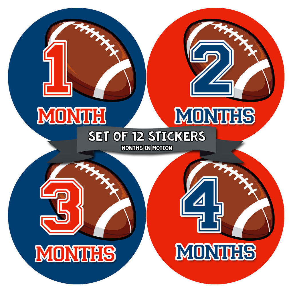 Monthly Baby Stickers Football Baby Boy Month 1-12 Milestone Age Sticker - Monthly Baby Sticker