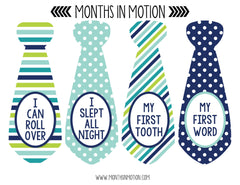 Baby Monthly Necktie Stickers for Baby Boy Months (Style 1341) - Monthly Baby Sticker