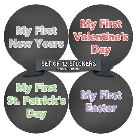 My First Holiday Baby Stickers Milestone Christmas, Birthday, Halloween, Easter