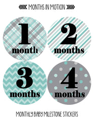 Months in Motion 086 Monthly Baby Stickers Baby Boy Milestone Age Sticker Photo - Monthly Baby Sticker