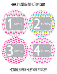 Months in Motion 129 Monthly Baby Stickers Milestone Age Sticker Photo Prop - Monthly Baby Sticker