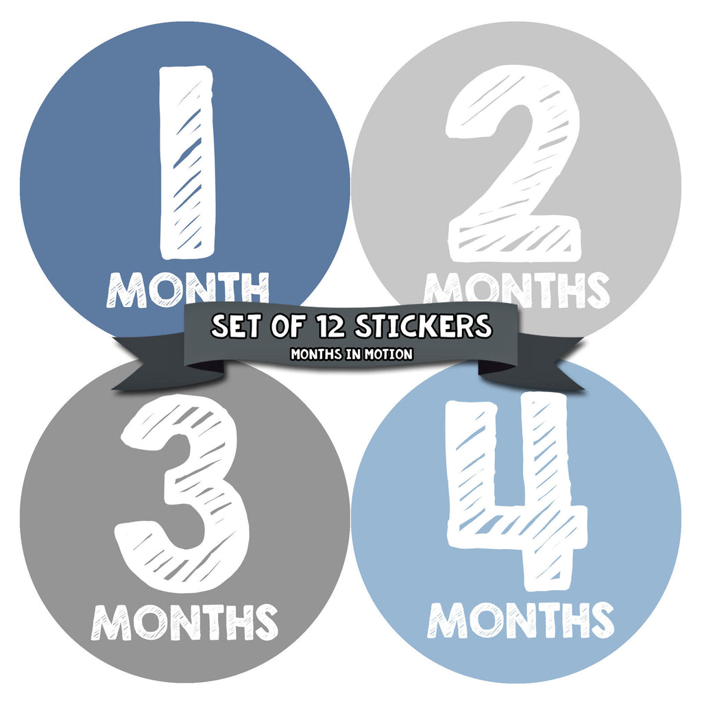Months in Motion 057 Monthly Baby Stickers Baby Boy Milestone Age Sticker Photo - Monthly Baby Sticker