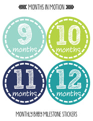 Months in Motion 113 Monthly Baby Stickers Baby Boy 12 Months Milestone Sticker - Monthly Baby Sticker