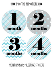 Months in Motion 089 Monthly Baby Stickers Baby Boy Month 1-12 Milestone Age - Monthly Baby Sticker