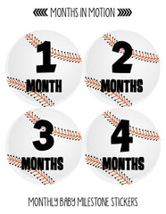 Baby Month Stickers for Newborn Boy Baseball Monthly Milestone (224) - Monthly Baby Sticker