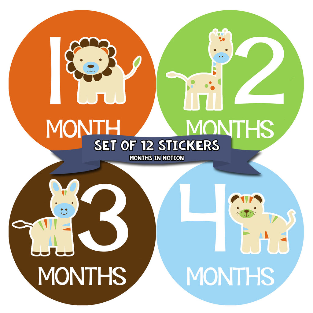 Months in Motion 047 Monthly Baby Stickers Baby Animals Months 1-12 Milestone - Monthly Baby Sticker