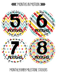 MONTHLY BABY PHOTO STICKERS FOR BABY BOY MONTH MILESTONE - Monthly Baby Sticker