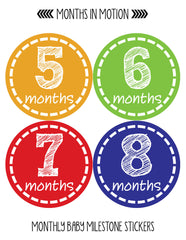 Months in Motion 023 Monthly Baby Stickers Gender Neutral Months 1-12 - Monthly Baby Sticker