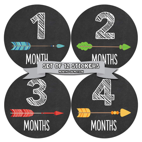 MONTHS IN MOTION Monthly Baby Stickers Infant UNISEX Month Milestone Photo Prop