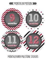 Monthly Baby Stickers Baby Boy Month 1-12 Milestone Age Sticker Photo Prop - Monthly Baby Sticker