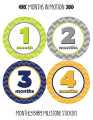 Months in Motion 008 Monthly Baby Stickers Baby Boy Months 1-12 Milestone - Monthly Baby Sticker