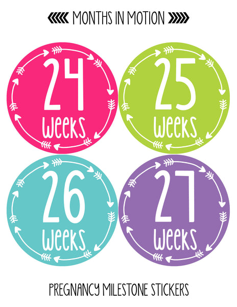 Months In Motion Pregnancy Week By Week Belly Stickers Set of 36 Photo  Stickers