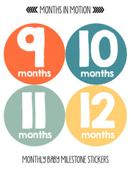 Months in Motion 100 Monthly Baby Stickers Baby Boy Milestone Age Sticker Photo - Monthly Baby Sticker