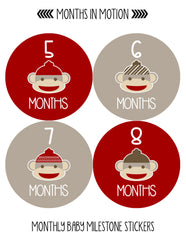 Months in Motion 049 Monthly Baby Stickers Red Sock Monkey Months 1-12 Milestone - Monthly Baby Sticker
