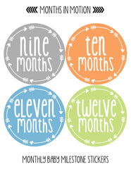 Monthly Baby Stickers Baby Boy Month 1-12 Milestone Sticker - Monthly Baby Sticker