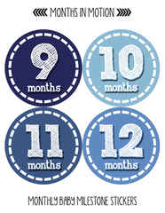 Months in Motion 081 Monthly Baby Stickers Baby Boy Month 1-12 Milestone Age - Monthly Baby Sticker