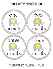 Months in Motion 096 Monthly Baby Stickers Gender Neutral Month 1-12 Milestone - Monthly Baby Sticker