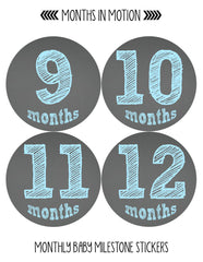 Months in Motion 123 Monthly Baby Stickers Baby Boy Chalkboard Milestone Age - Monthly Baby Sticker