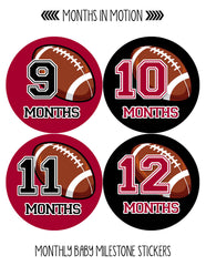 Monthly Baby Stickers Football Baby Boy Month 1-12 Milestone Age Sticker Photo - Monthly Baby Sticker