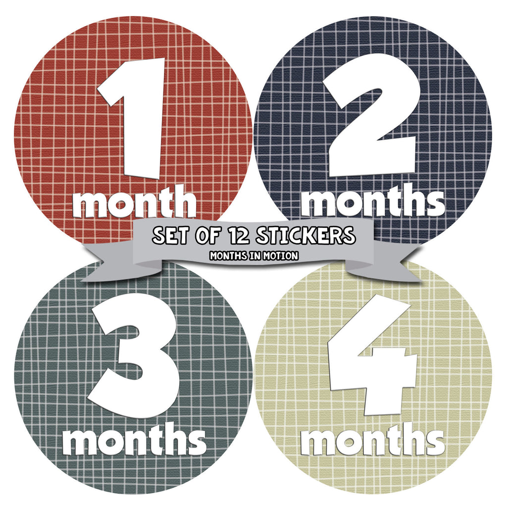 Months in Motion 010 Monthly Baby Stickers Baby Boy Months 1-12 Milestone - Monthly Baby Sticker