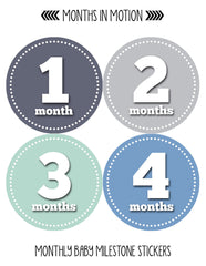 Months in Motion 061 Monthly Baby Stickers Baby Boy Month 1-12 Milestone Age - Monthly Baby Sticker