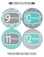 Months in Motion 132 Monthly Baby Stickers Baby Boy - Month 1-12 - Monthly Baby Sticker