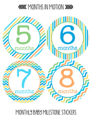 Baby Month Stickers | 12 Monthly Milestone Stickers for Baby Boy - Monthly Baby Sticker