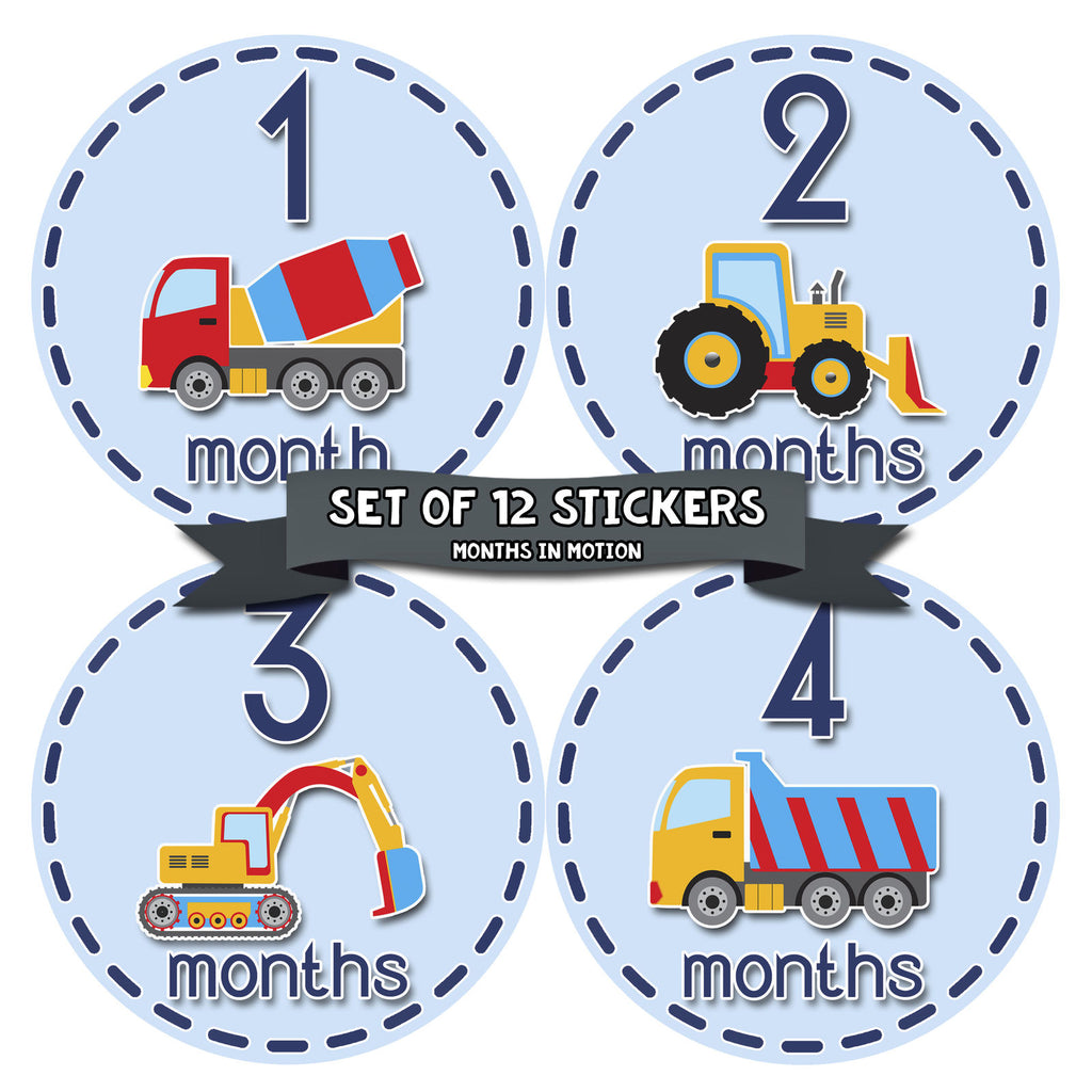 Monthly Baby Stickers Construction Trucks Baby Boy Month 1-12 Milestone Sticker - Monthly Baby Sticker