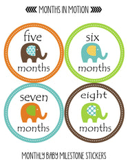 Months in Motion 097 Monthly Baby Stickers Gender Neutral Elephants Months 1-12 - Monthly Baby Sticker