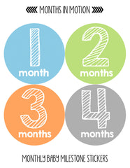 Months in Motion 108 Monthly Baby Stickers Baby Boy Milestone Age Sticker Photo - Monthly Baby Sticker