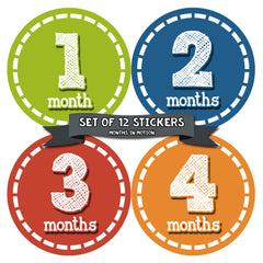 Months in Motion 082 Monthly Baby Stickers Baby Boy Month 1-12 Milestone Age - Monthly Baby Sticker