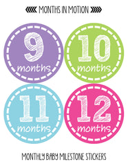 Monthly Baby Stickers Baby Girl Month 1-12 Milestone Age Sticker Photo Prop - Monthly Baby Sticker