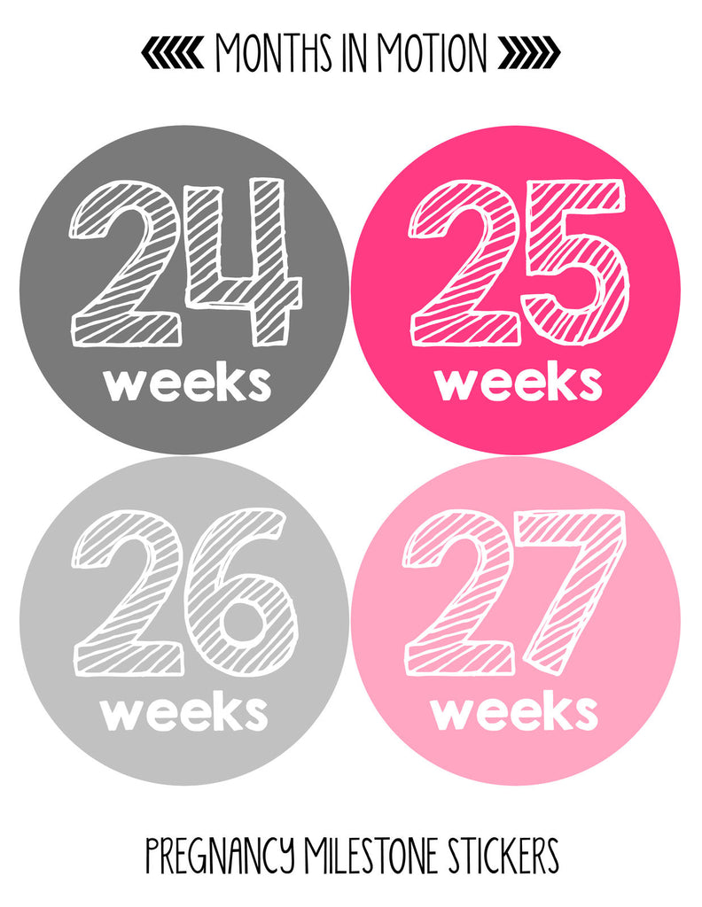 Pregnancy Week By Week Belly Stickers | Large Set of 36