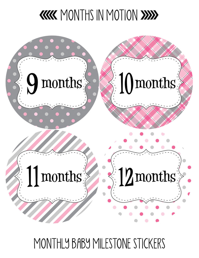 AMOLEY 12 PCS Baby Growth Milestones Stickers,Waterproof PVC Record The Childs Growth Process Decor,Best for Girls Boys Baby Multicolor2