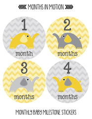 Months in Motion 028 Monthly Baby Stickers Gender Neutral Elephants Months 1-12 - Monthly Baby Sticker