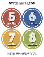 Months in Motion 094 Monthly Baby Stickers Baby Boy Milestone Age Sticker Photo - Monthly Baby Sticker