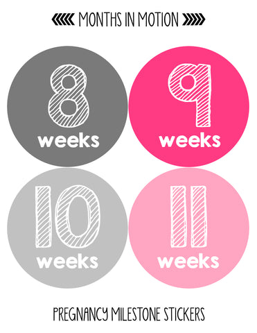 Pregnancy Baby Bump Week Stickers Style #900