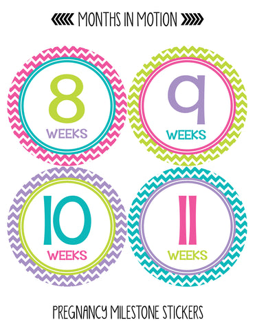 Pregnancy Baby Bump Week Stickers Style #902