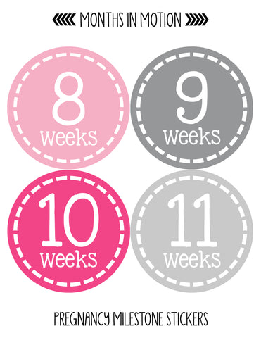 Pregnancy Baby Bump Week Stickers Style #905