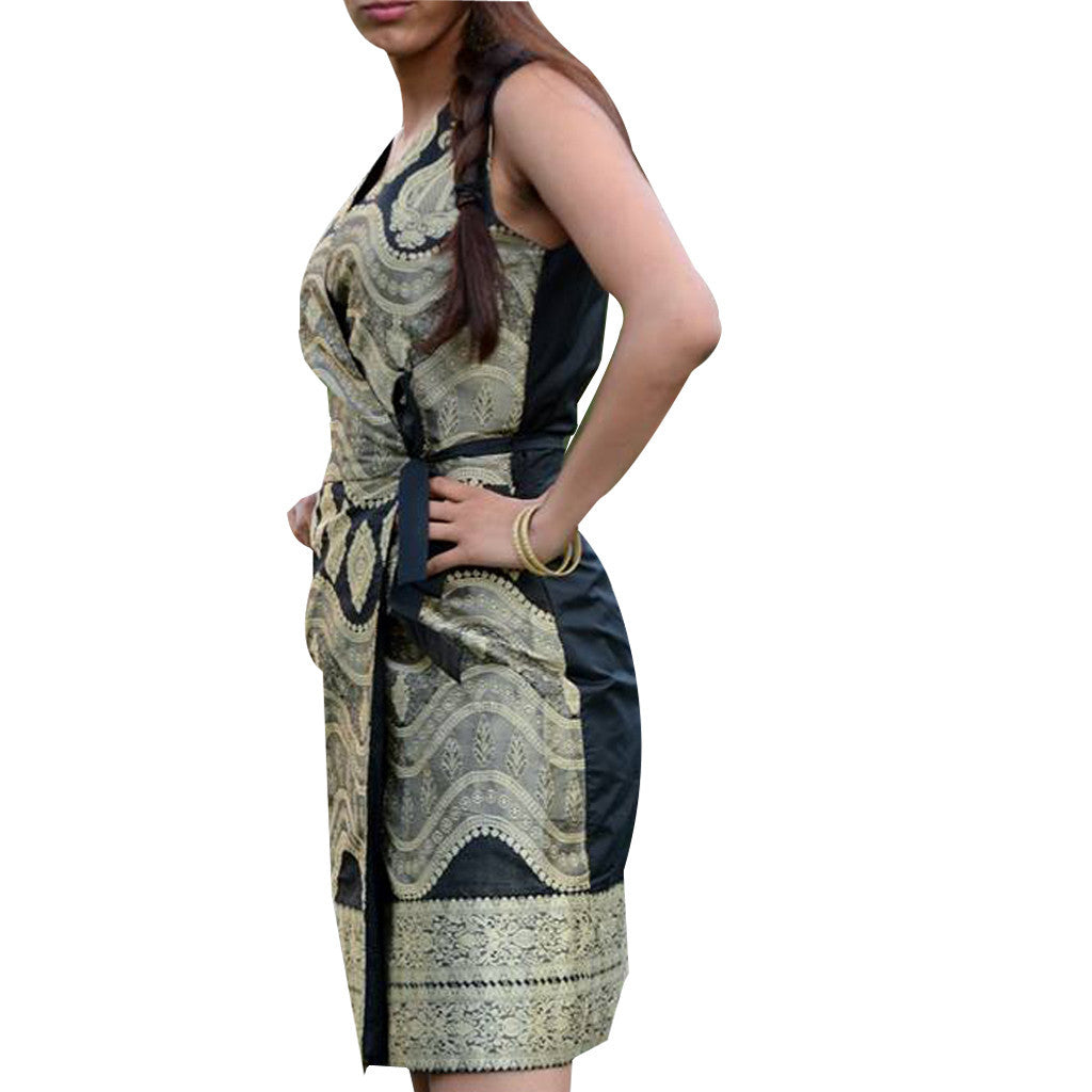 Black and Gold Wrap Silk Jacquard  Upcycled Sari Dress - Shubrah