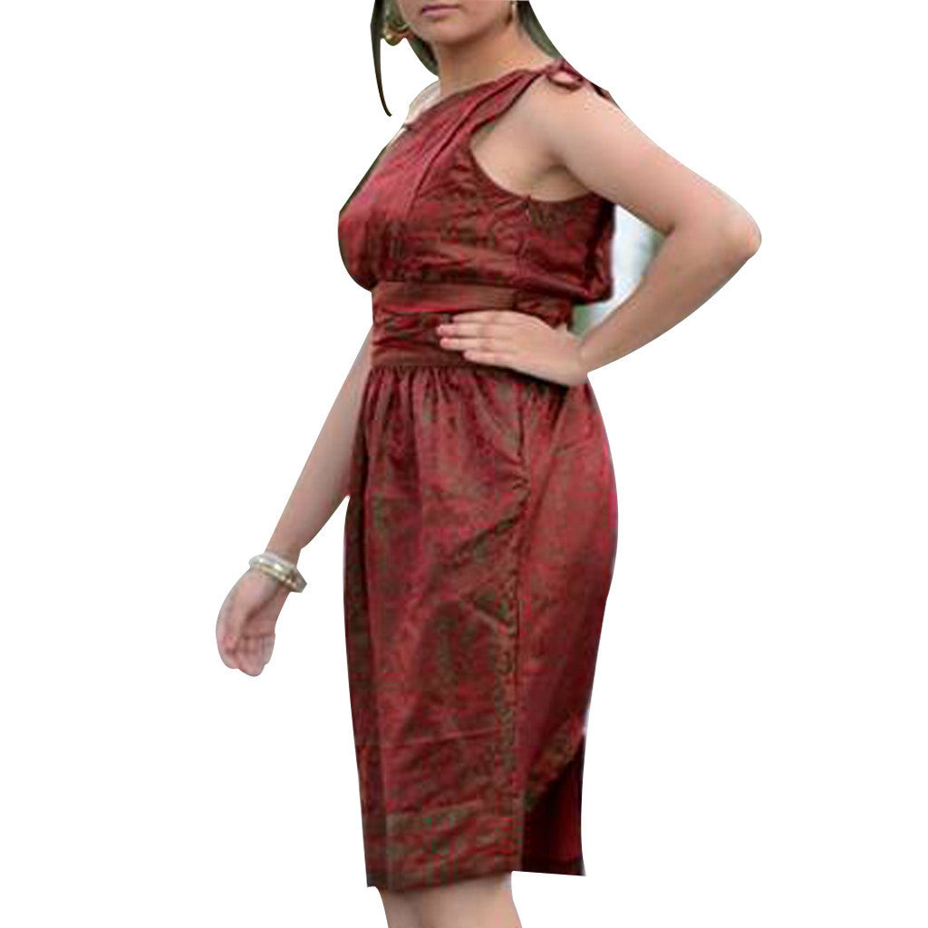 Burgundy Jacquard Upcycled Silk Sari Dress - Shubrah
