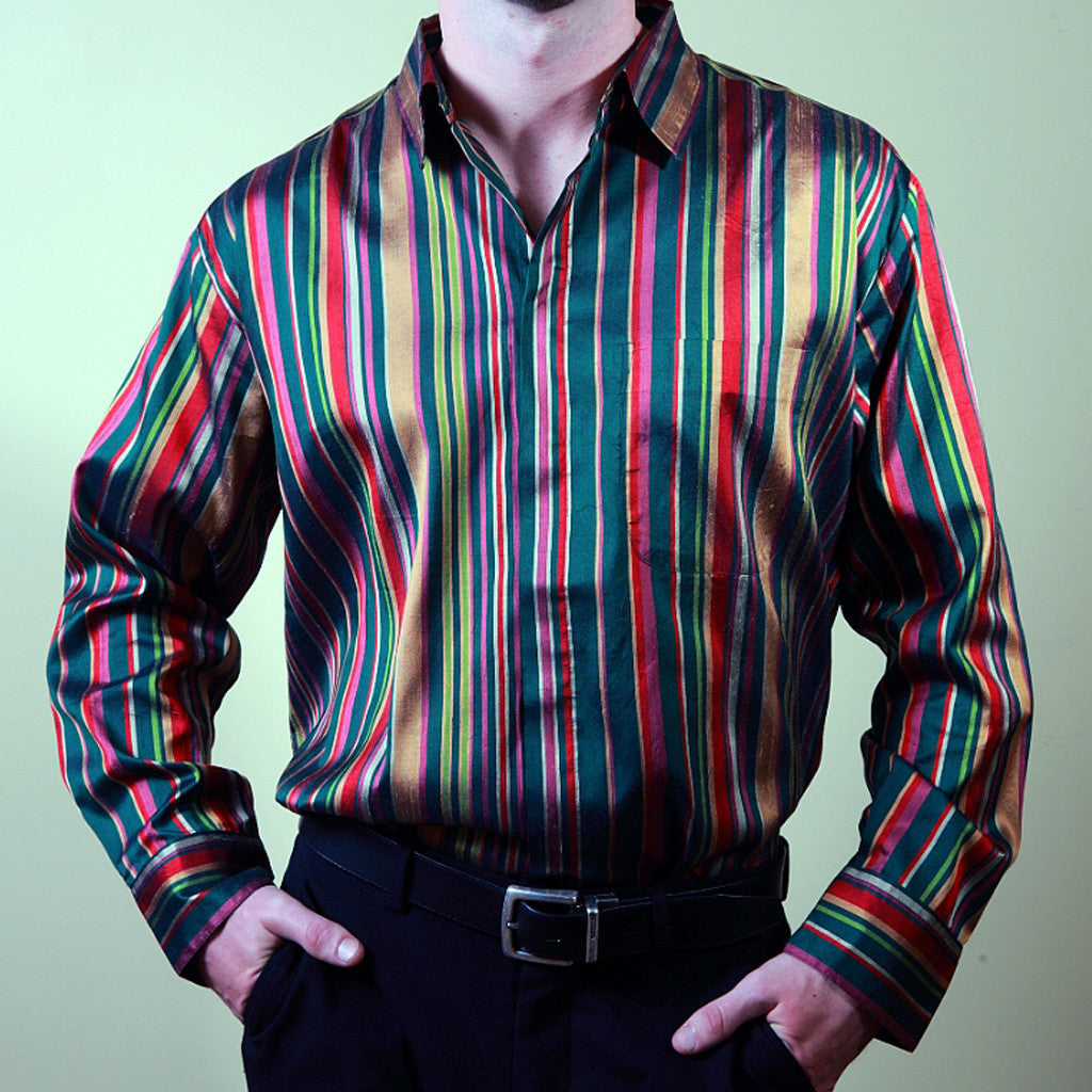 Celebration striped Silk Mens Shirt - Shubrah