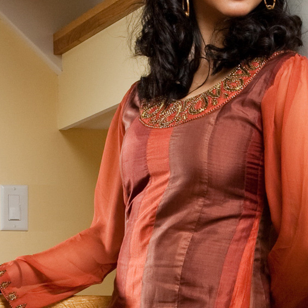 Chutney Brown Silk Striped Party dress with Long chiffon sleeves - Shubrah