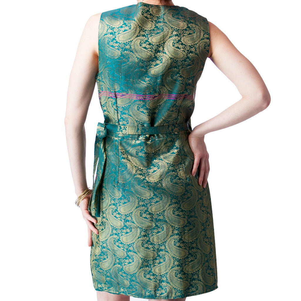 Emerald Green Upcycled Sari Silk Wrap Bridesmaids Dress - Shubrah